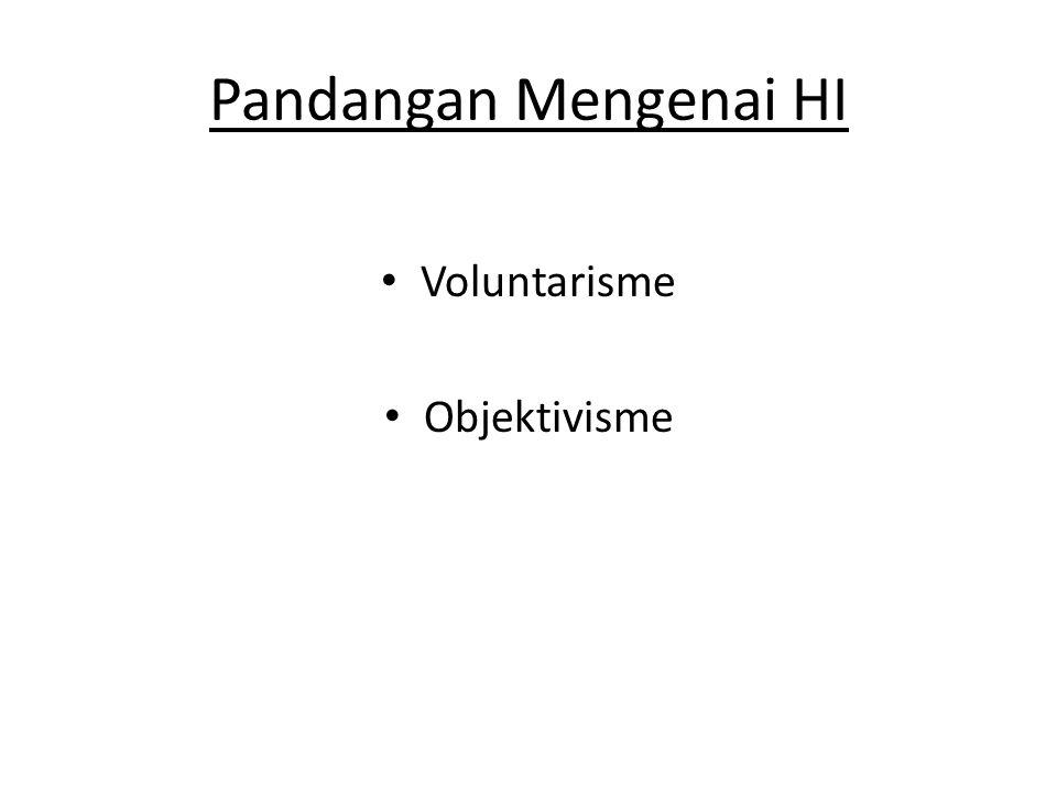Pandangan Mengenai HI • Voluntarisme • Objektivisme