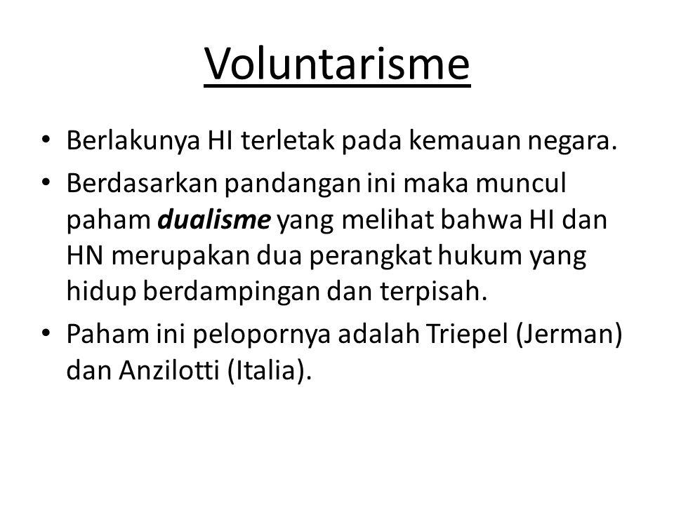 Voluntarisme • Berlakunya HI terletak pada kemauan negara.