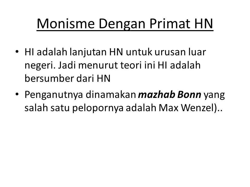 Monisme Dengan Primat HN • HI adalah lanjutan HN untuk urusan luar negeri.