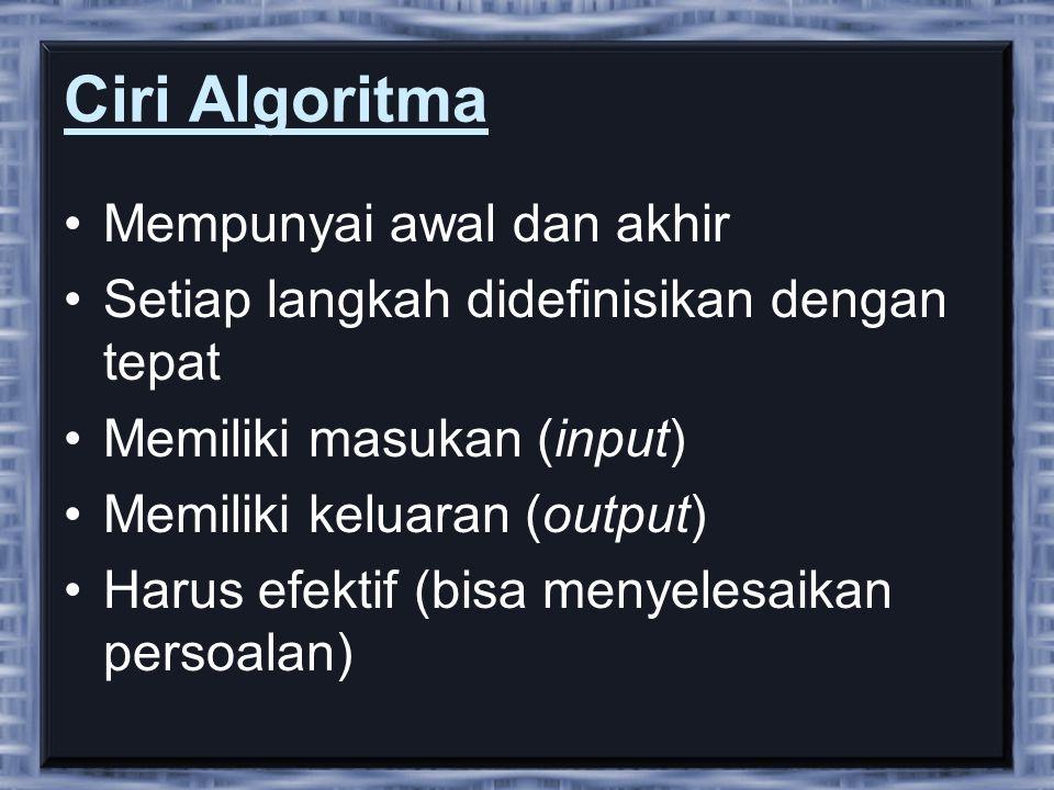 Ciri Algoritma •Mempunyai awal dan akhir •Setiap langkah didefinisikan dengan tepat •Memiliki masukan (input) •Memiliki keluaran (output) •Harus efektif (bisa menyelesaikan persoalan)