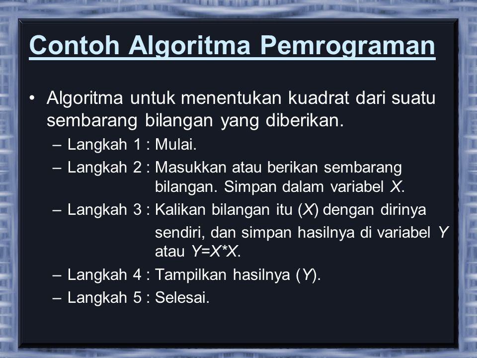 Contoh Algoritma Pemrograman •Algoritma untuk menentukan kuadrat dari suatu sembarang bilangan yang diberikan. –Langkah 1 : Mulai. –Langkah 2 : Masukk