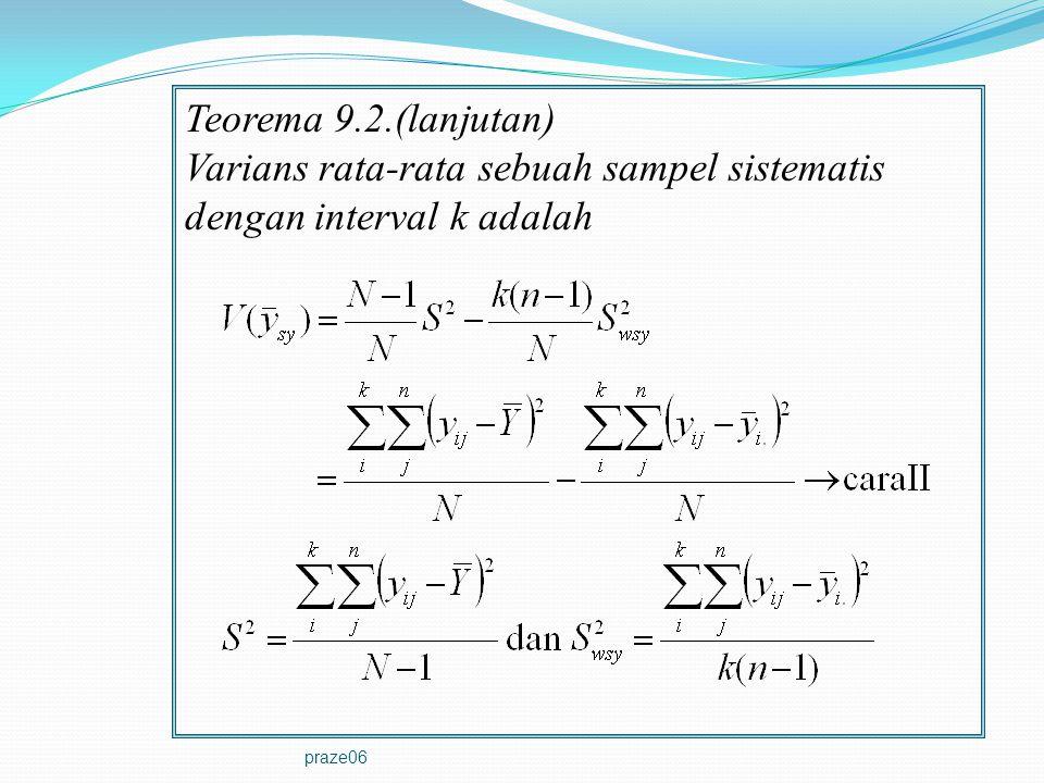 praze06 Teorema 9.2.(lanjutan) Varians rata-rata sebuah sampel sistematis dengan interval k adalah