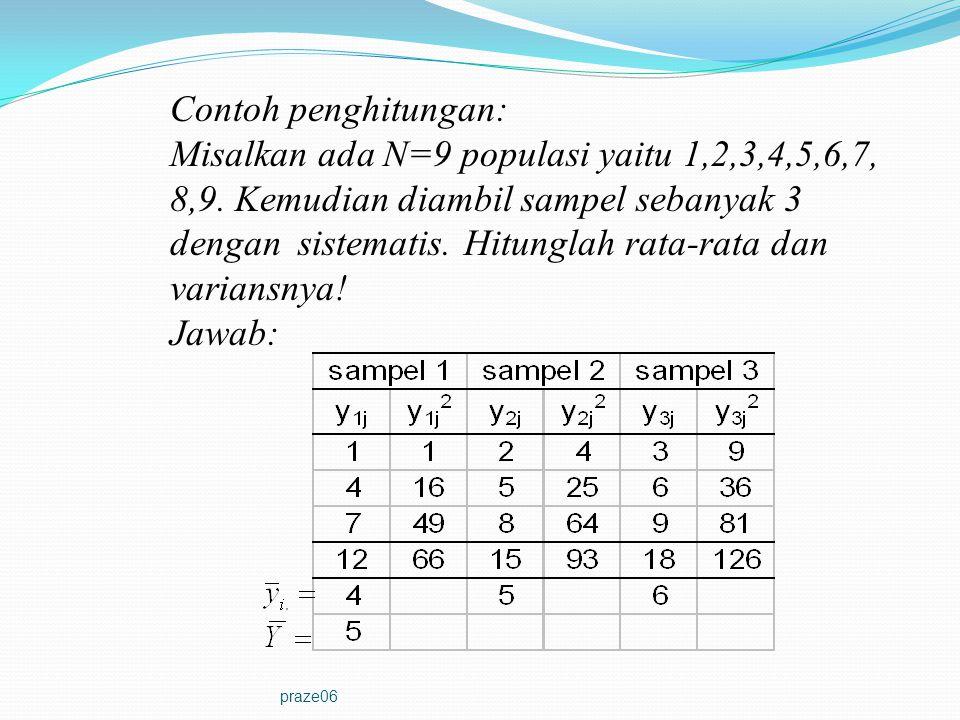 praze06 Contoh penghitungan: Misalkan ada N=9 populasi yaitu 1,2,3,4,5,6,7, 8,9. Kemudian diambil sampel sebanyak 3 dengan sistematis. Hitunglah rata-