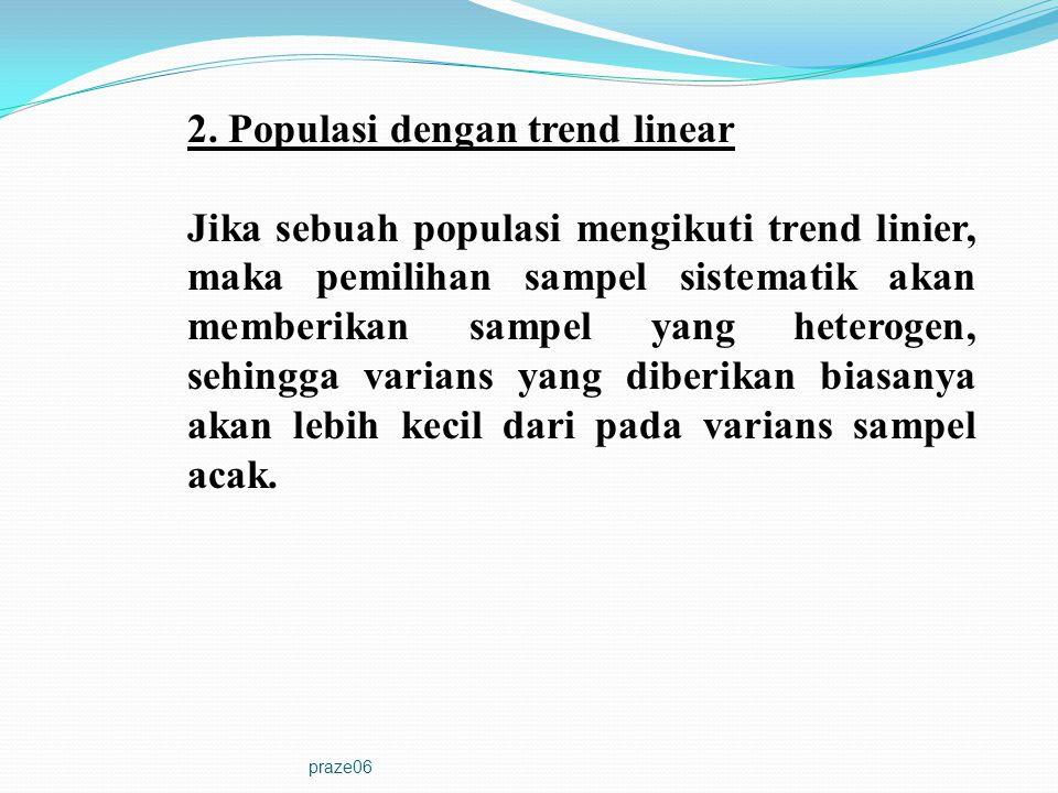 praze06 2. Populasi dengan trend linear Jika sebuah populasi mengikuti trend linier, maka pemilihan sampel sistematik akan memberikan sampel yang hete