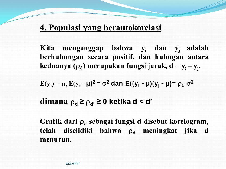 praze06 4. Populasi yang berautokorelasi Kita menganggap bahwa y i dan y j adalah berhubungan secara positif, dan hubugan antara keduanya (  d ) meru