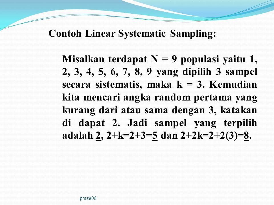 praze06 Contoh Linear Systematic Sampling: Misalkan terdapat N = 9 populasi yaitu 1, 2, 3, 4, 5, 6, 7, 8, 9 yang dipilih 3 sampel secara sistematis, m
