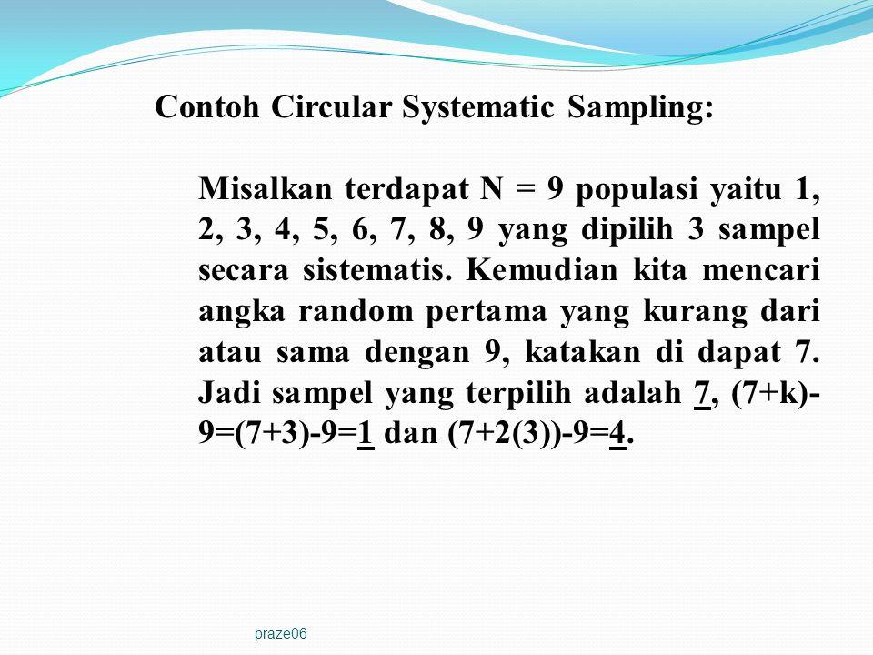 praze06 Contoh Circular Systematic Sampling: Misalkan terdapat N = 9 populasi yaitu 1, 2, 3, 4, 5, 6, 7, 8, 9 yang dipilih 3 sampel secara sistematis.