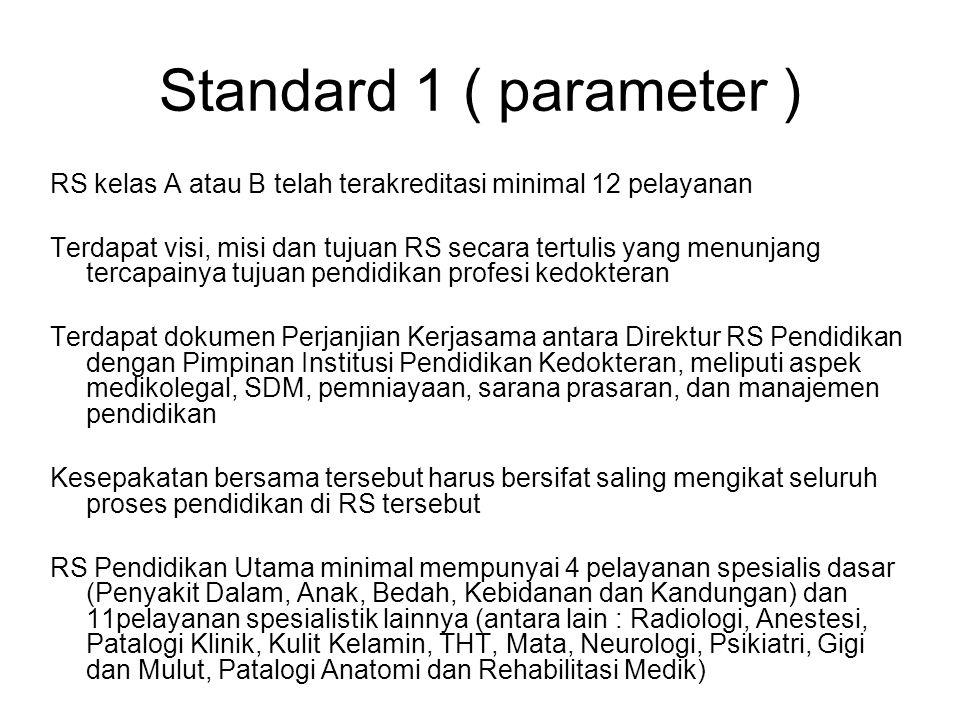 Standard 1 ( parameter ) RS kelas A atau B telah terakreditasi minimal 12 pelayanan Terdapat visi, misi dan tujuan RS secara tertulis yang menunjang t