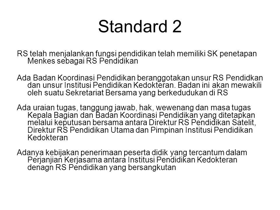 Standard 2 RS telah menjalankan fungsi pendidikan telah memiliki SK penetapan Menkes sebagai RS Pendidikan Ada Badan Koordinasi Pendidikan beranggotak
