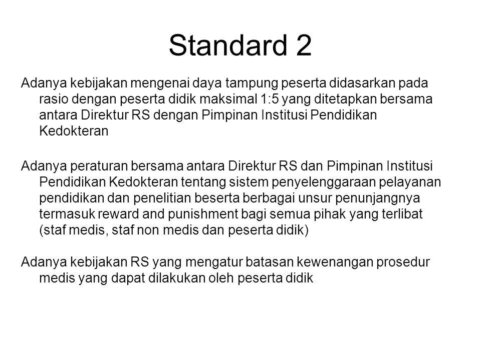 Standard 2 Adanya kebijakan mengenai daya tampung peserta didasarkan pada rasio dengan peserta didik maksimal 1:5 yang ditetapkan bersama antara Direk