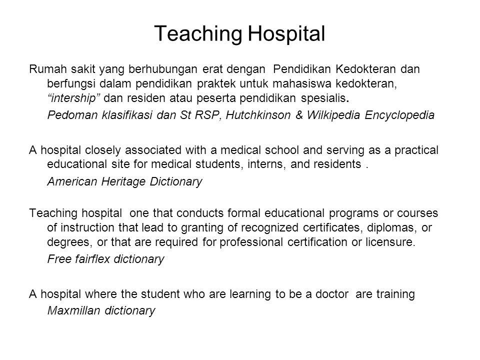 """Teaching Hospital Rumah sakit yang berhubungan erat dengan Pendidikan Kedokteran dan berfungsi dalam pendidikan praktek untuk mahasiswa kedokteran, """"i"""