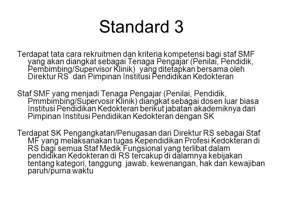 Standard 3 Terdapat tata cara rekruitmen dan kriteria kompetensi bagi staf SMF yang akan diangkat sebagai Tenaga Pengajar (Penilai, Pendidik, Pembimbi