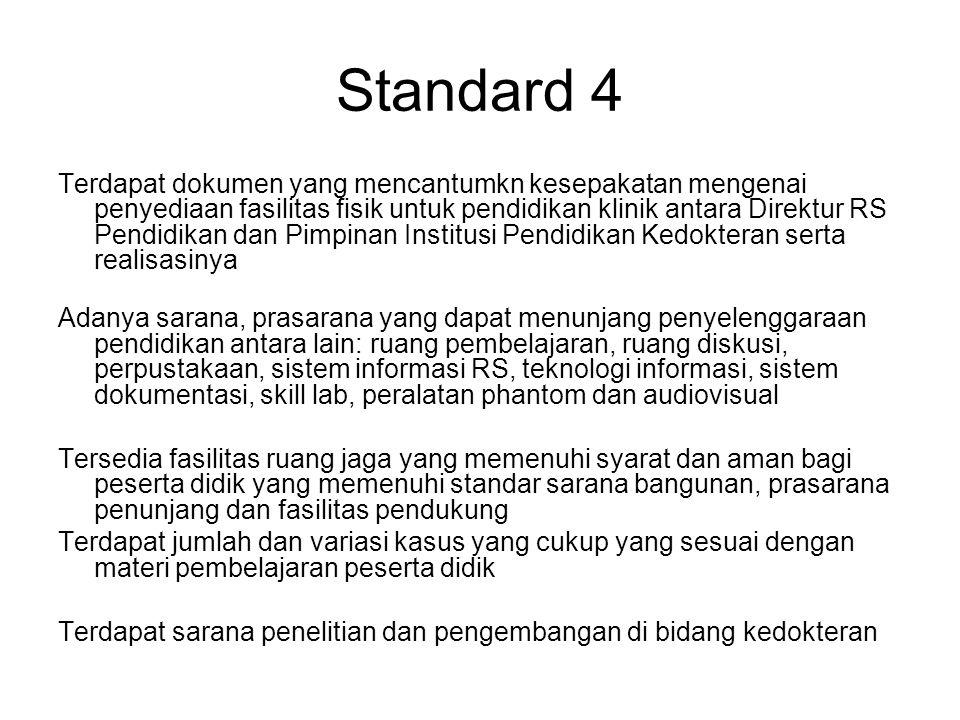 Standard 4 Terdapat dokumen yang mencantumkn kesepakatan mengenai penyediaan fasilitas fisik untuk pendidikan klinik antara Direktur RS Pendidikan dan