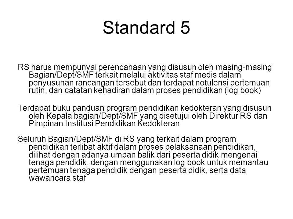 Standard 5 RS harus mempunyai perencanaan yang disusun oleh masing-masing Bagian/Dept/SMF terkait melalui aktivitas staf medis dalam penyusunan rancan
