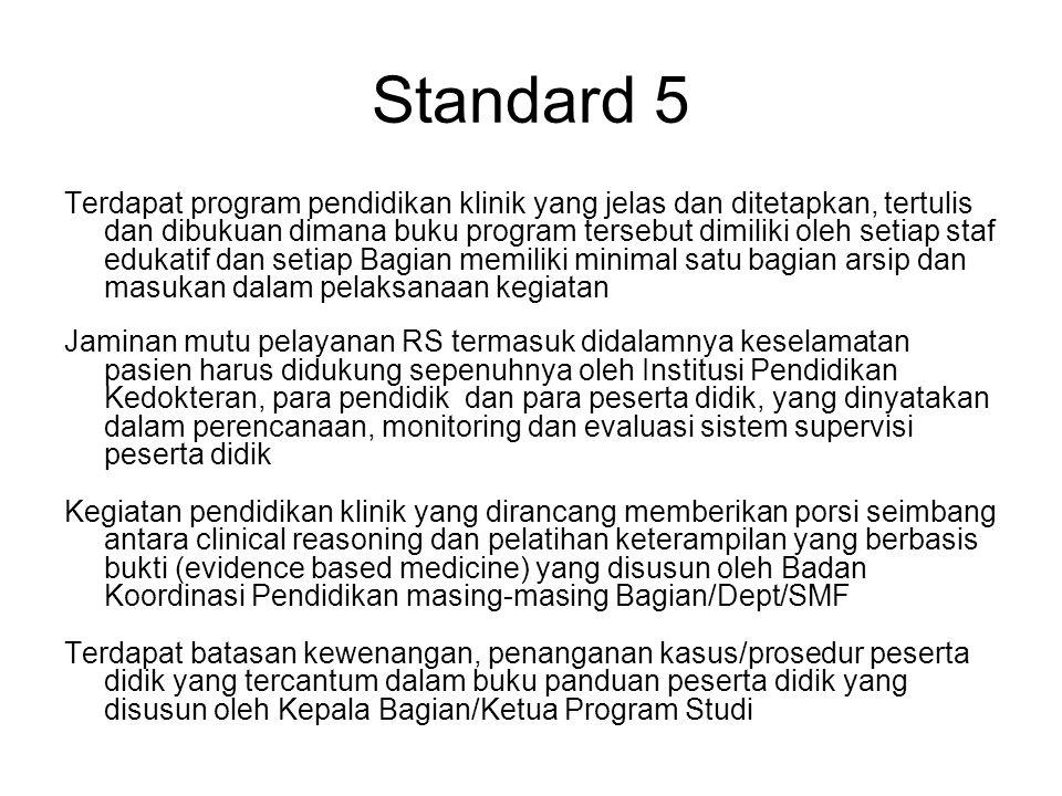Standard 5 Terdapat program pendidikan klinik yang jelas dan ditetapkan, tertulis dan dibukuan dimana buku program tersebut dimiliki oleh setiap staf