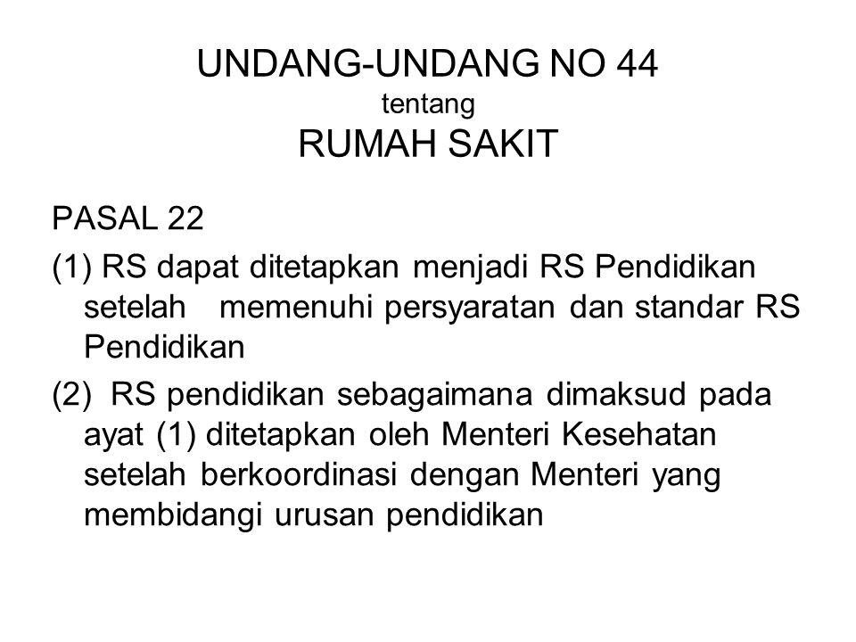 UNDANG-UNDANG NO 44 tentang RUMAH SAKIT PASAL 22 (1) RS dapat ditetapkan menjadi RS Pendidikan setelah memenuhi persyaratan dan standar RS Pendidikan
