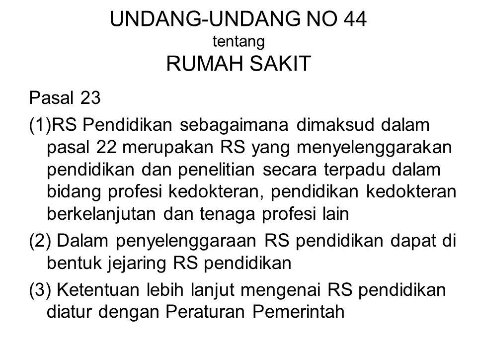 UNDANG-UNDANG NO 44 tentang RUMAH SAKIT Pasal 23 (1)RS Pendidikan sebagaimana dimaksud dalam pasal 22 merupakan RS yang menyelenggarakan pendidikan da