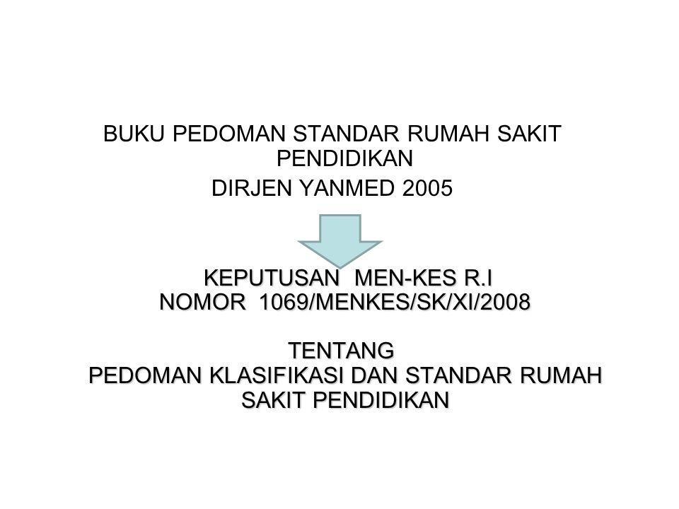 BUKU PEDOMAN STANDAR RUMAH SAKIT PENDIDIKAN DIRJEN YANMED 2005 KEPUTUSAN MEN-KES R.I NOMOR 1069/MENKES/SK/XI/2008 TENTANG PEDOMAN KLASIFIKASI DAN STAN