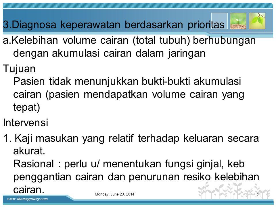 www.themegallery.com 14) Perubahan urin : a)Penurunan volume b)Gelap c)Berbau buah d.Bantu dengan prosedur diagnostik dan pengujian, misalnya analisa