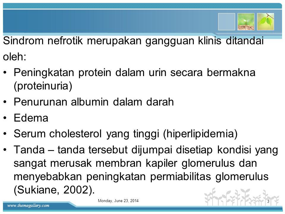 www.themegallery.com Sindrom nefrotik merupakan gangguan klinis ditandai oleh: •Peningkatan protein dalam urin secara bermakna (proteinuria) •Penurunan albumin dalam darah •Edema •Serum cholesterol yang tinggi (hiperlipidemia) •Tanda – tanda tersebut dijumpai disetiap kondisi yang sangat merusak membran kapiler glomerulus dan menyebabkan peningkatan permiabilitas glomerulus (Sukiane, 2002).