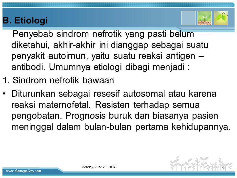 www.themegallery.com Sindrom nefrotik merupakan gangguan klinis ditandai oleh: •Peningkatan protein dalam urin secara bermakna (proteinuria) •Penuruna
