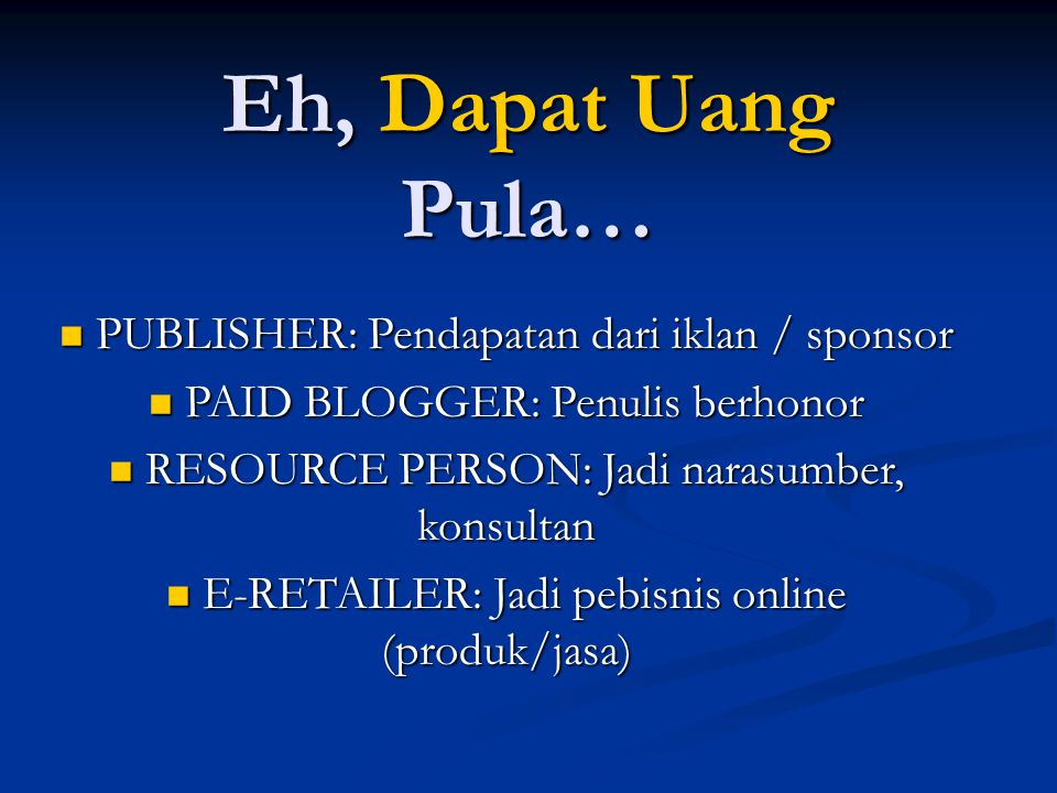 Jenis-jenis Blog  Blog Berbasis Teks  Blog Foto (Photoblog)  Blog Audio (Podcasting)  Blog Video (Vblog)