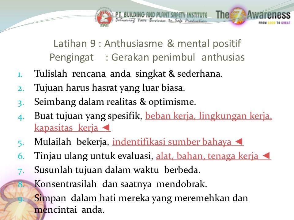 Latihan 9 : Anthusiasme & mental positif Pengingat : Gerakan penimbul anthusias 1.