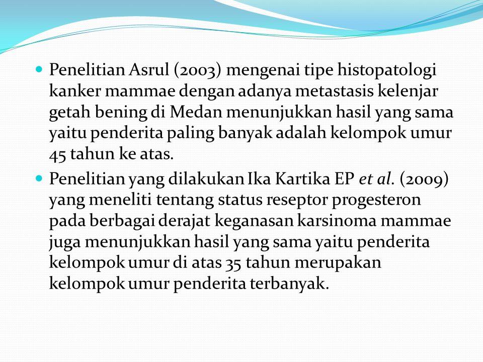  Penelitian Asrul (2003) mengenai tipe histopatologi kanker mammae dengan adanya metastasis kelenjar getah bening di Medan menunjukkan hasil yang sama yaitu penderita paling banyak adalah kelompok umur 45 tahun ke atas.