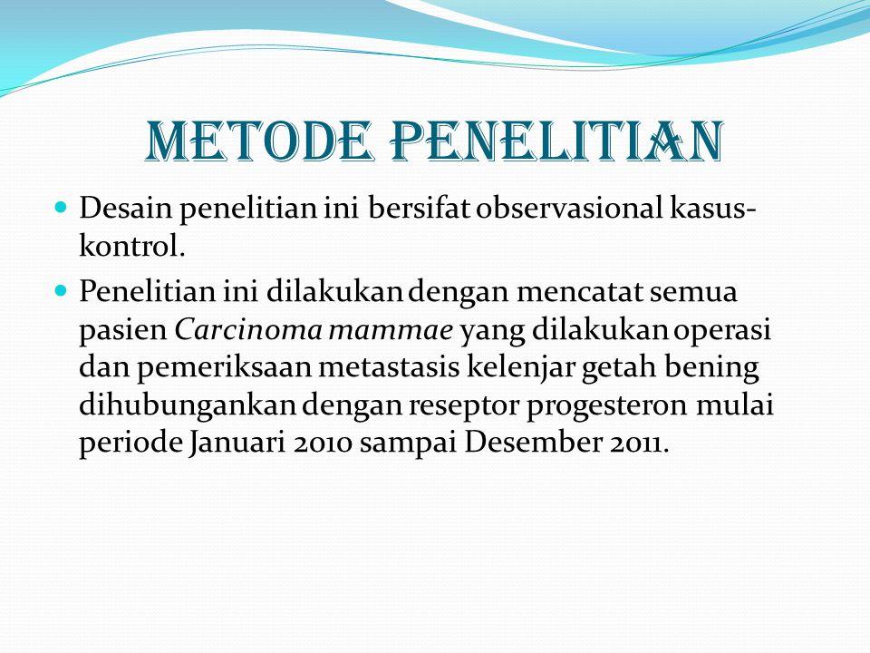 Populasi dan sampel  Populasi penelitian ini adalah data pemeriksaan pasien operasi tumor mammae di Instalasi Patologi Anatomi Rumah Sakit Saiful Anwar Malang periode Januari 2010-Desember 2011.