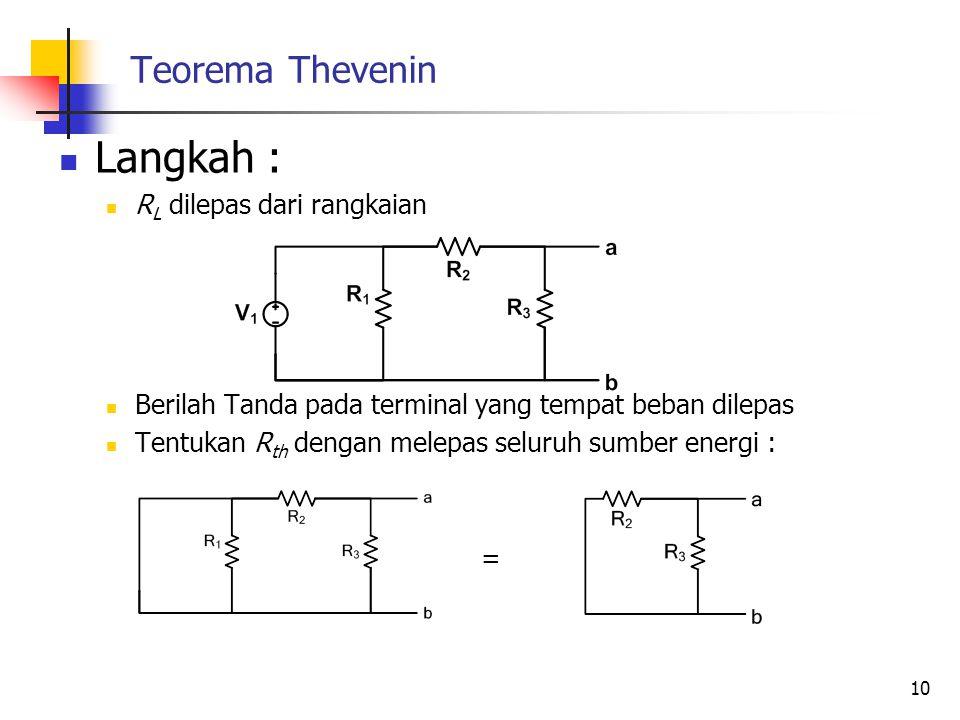 Teorema Thevenin  Langkah :  R L dilepas dari rangkaian  Berilah Tanda pada terminal yang tempat beban dilepas  Tentukan R th dengan melepas seluruh sumber energi : = 10