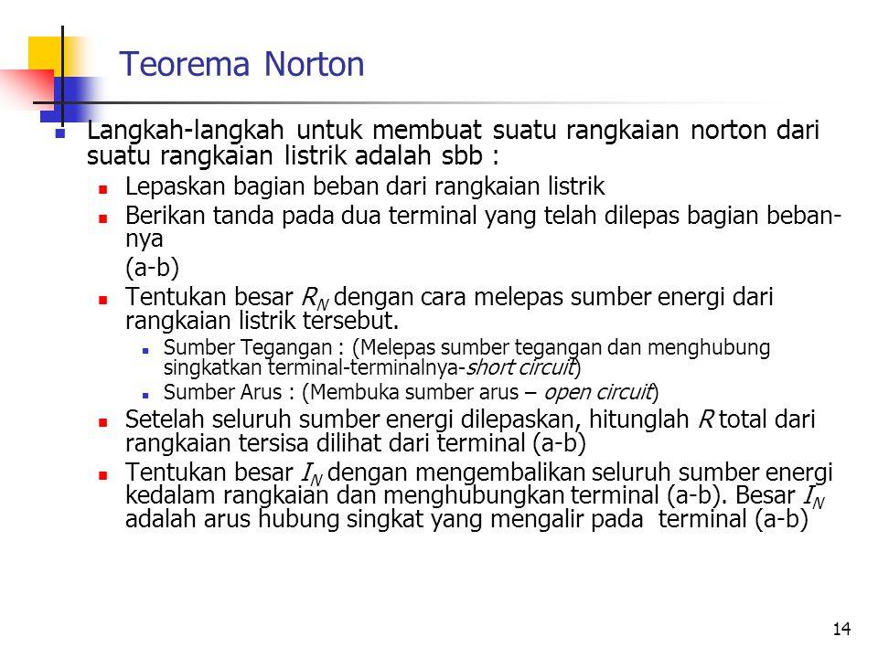 Teorema Norton  Langkah-langkah untuk membuat suatu rangkaian norton dari suatu rangkaian listrik adalah sbb :  Lepaskan bagian beban dari rangkaian listrik  Berikan tanda pada dua terminal yang telah dilepas bagian beban- nya (a-b)  Tentukan besar R N dengan cara melepas sumber energi dari rangkaian listrik tersebut.