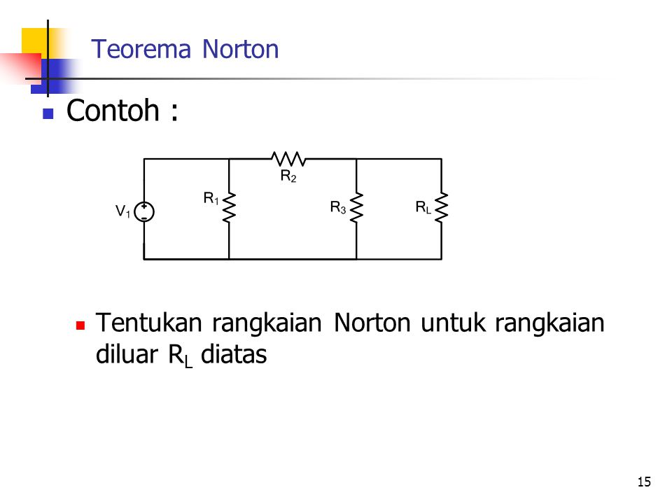 Teorema Norton  Contoh :  Tentukan rangkaian Norton untuk rangkaian diluar R L diatas 15