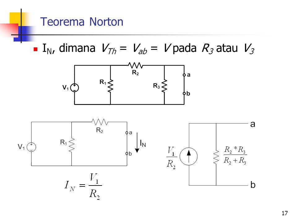 Teorema Norton  I N, dimana V Th = V ab = V pada R 3 atau V 3 17