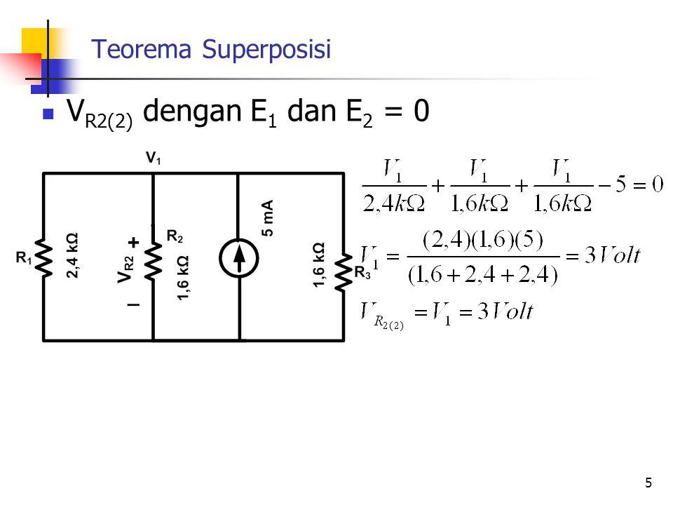 Teorema Superposisi  V R2(2) dengan E 1 dan E 2 = 0 5