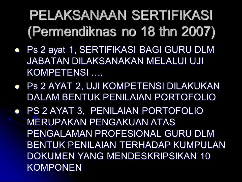 Permendiknas no 18 thn 2007  SEBAGAI DASAR PELAKSANAAN SERTIFIKASI GURU SEBELUM PERATURAN PEMERINTAH (PP) TENTANG GURU DI SAHKAN  BERLAKU HANYA UNTU