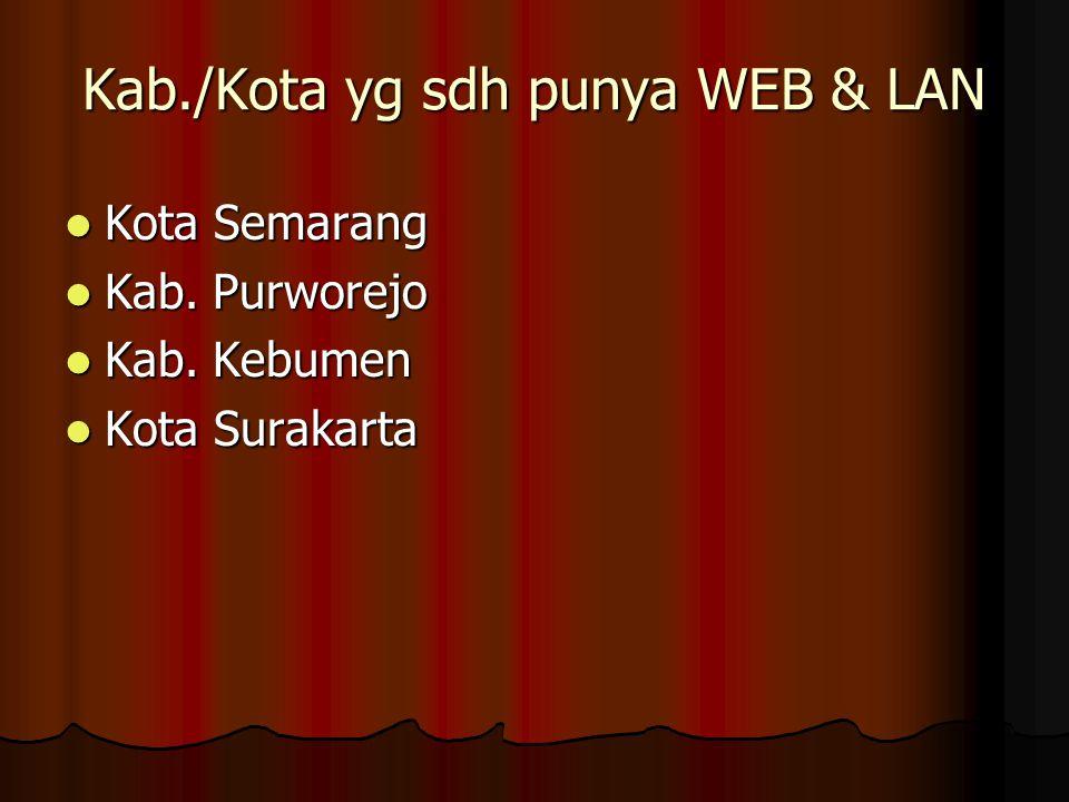 Kab./Kota yg sdh punya WEB & LAN  Kota Semarang  Kab. Purworejo  Kab. Kebumen  Kota Surakarta