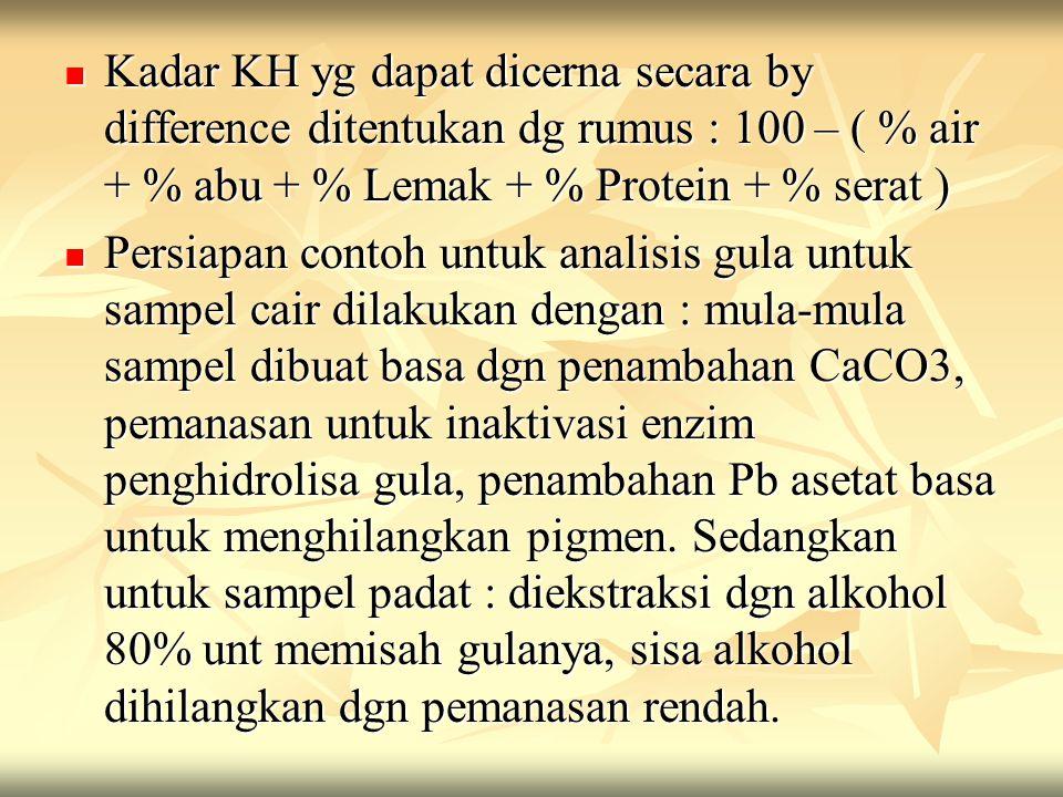 Kadar KH yg dapat dicerna secara by difference ditentukan dg rumus : 100 – ( % air + % abu + % Lemak + % Protein + % serat )  Persiapan contoh untu