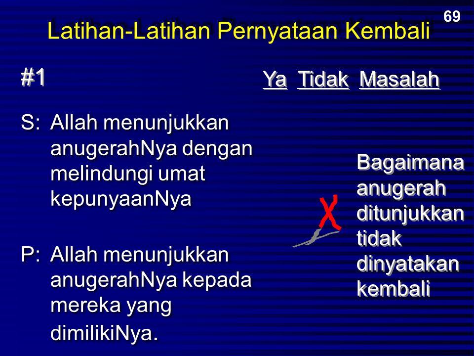 Latihan-Latihan Pernyataan Kembali S:Allah menunjukkan anugerahNya dengan melindungi umat kepunyaanNya P:Allah menunjukkan anugerahNya kepada mereka y
