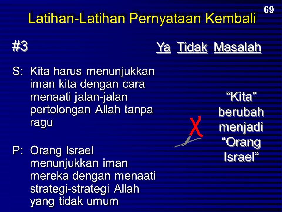 S:Kita harus menunjukkan iman kita dengan cara menaati jalan-jalan pertolongan Allah tanpa ragu P:Orang Israel menunjukkan iman mereka dengan menaati
