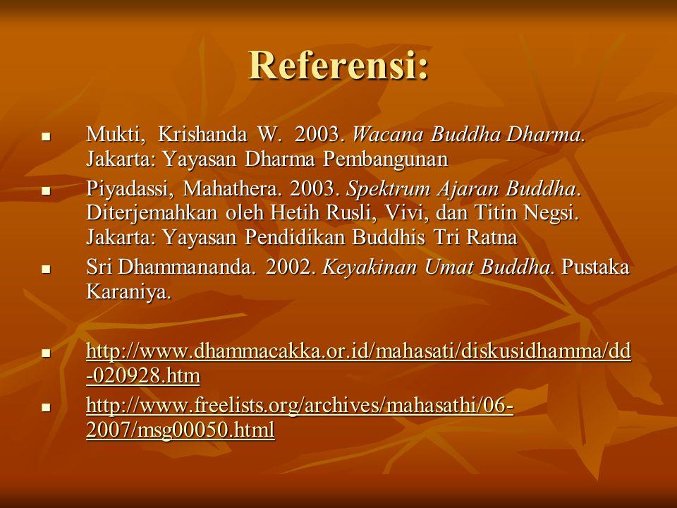 Referensi:  Mukti, Krishanda W.2003. Wacana Buddha Dharma.