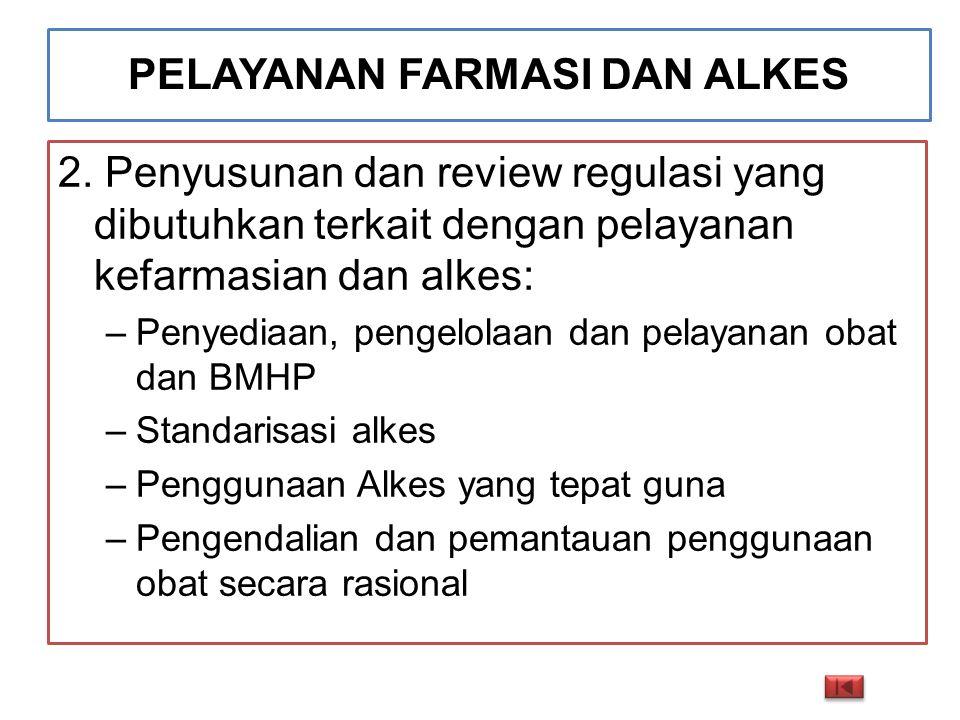 PELAYANAN FARMASI DAN ALKES 2. Penyusunan dan review regulasi yang dibutuhkan terkait dengan pelayanan kefarmasian dan alkes: –Penyediaan, pengelolaan