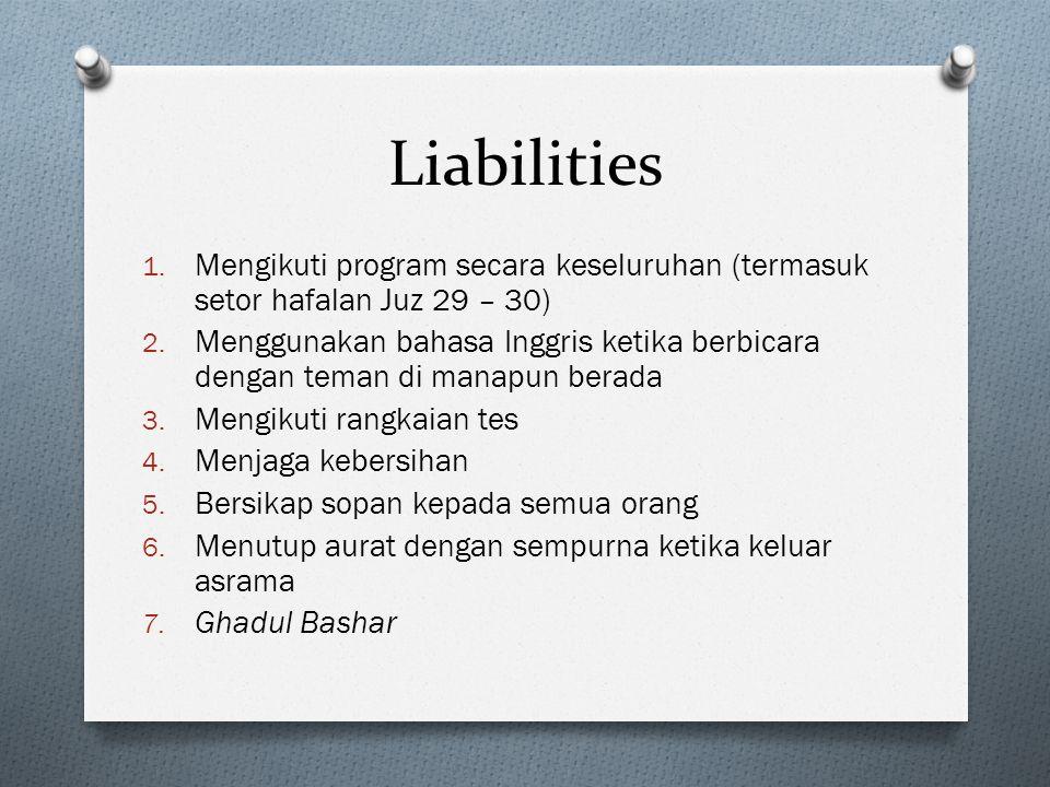 Liabilities 1.Mengikuti program secara keseluruhan (termasuk setor hafalan Juz 29 – 30) 2.