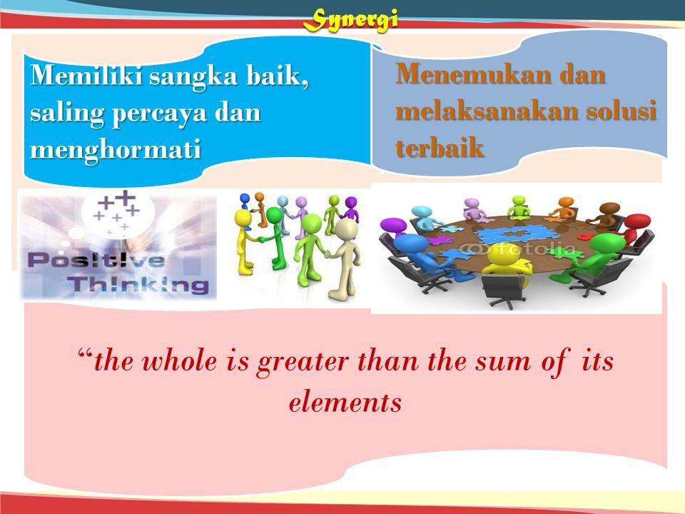 """Synergi Memiliki sangka baik, saling percaya dan menghormati """"the whole is greater than the sum of its elements Menemukan dan melaksanakan solusi terb"""