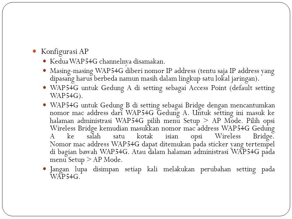  Konfigurasi AP  Kedua WAP54G channelnya disamakan.  Masing-masing WAP54G diberi nomor IP address (tentu saja IP address yang dipasang harus berbed
