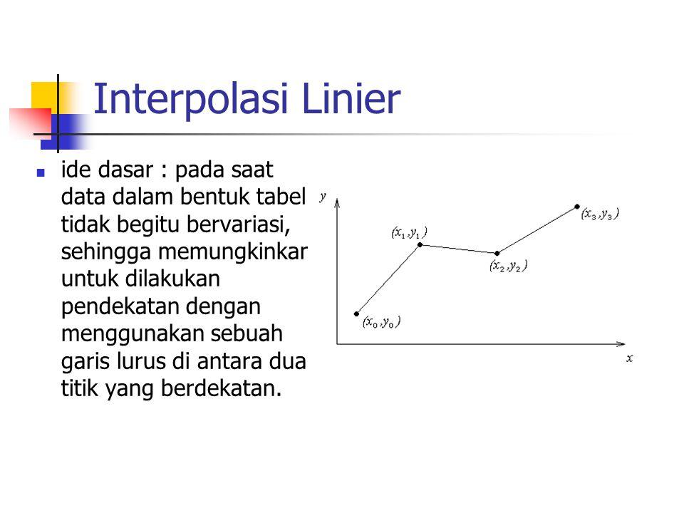 Interpolasi Linier  ide dasar : pada saat data dalam bentuk tabel tidak begitu bervariasi, sehingga memungkinkan untuk dilakukan pendekatan dengan me