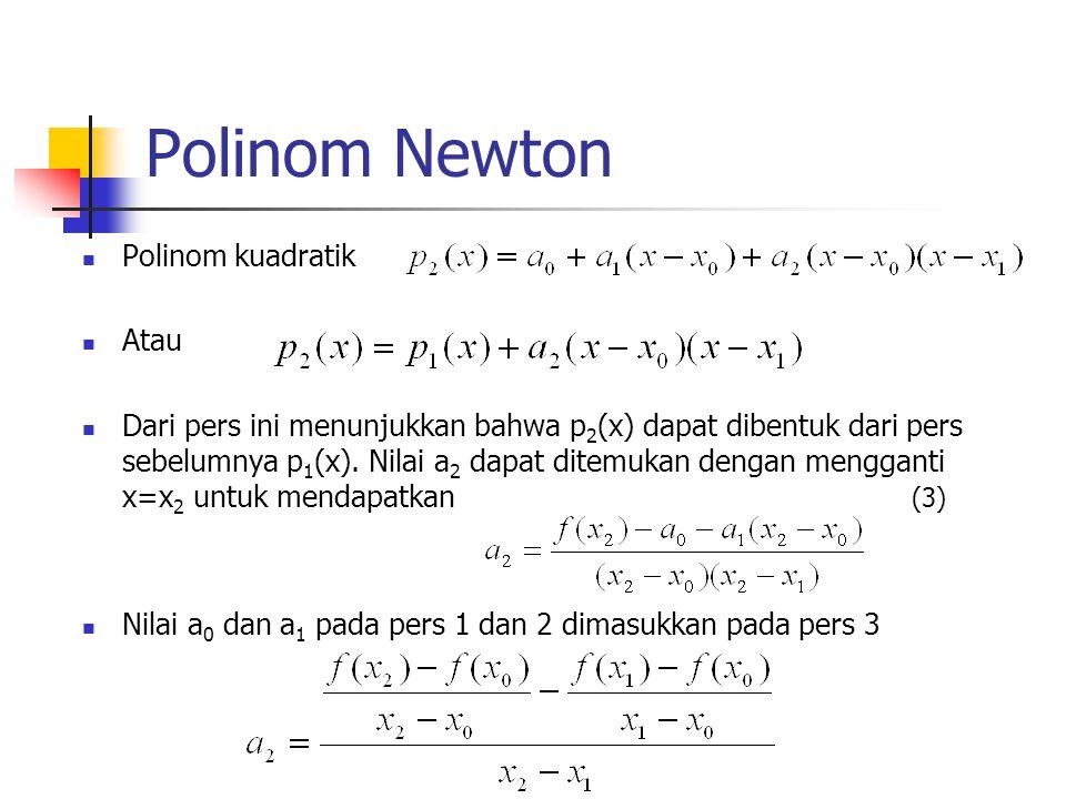 Polinom Newton  Polinom kuadratik  Atau  Dari pers ini menunjukkan bahwa p 2 (x) dapat dibentuk dari pers sebelumnya p 1 (x). Nilai a 2 dapat ditem