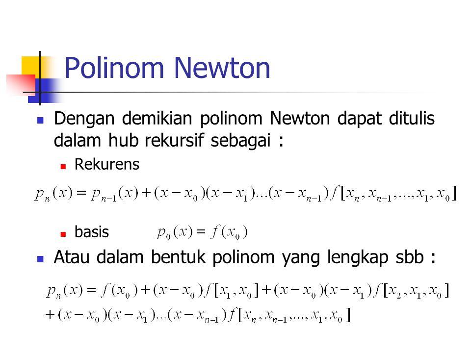 Polinom Newton  Dengan demikian polinom Newton dapat ditulis dalam hub rekursif sebagai :  Rekurens  basis  Atau dalam bentuk polinom yang lengkap