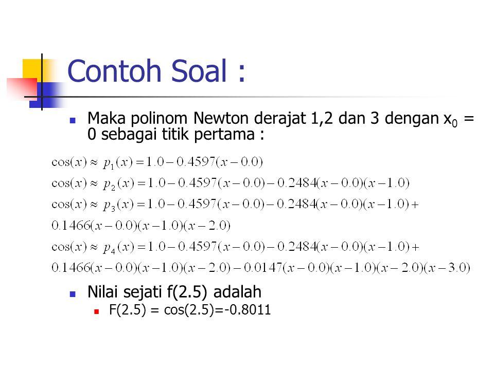 Contoh Soal :  Maka polinom Newton derajat 1,2 dan 3 dengan x 0 = 0 sebagai titik pertama :  Nilai sejati f(2.5) adalah  F(2.5) = cos(2.5)=-0.8011