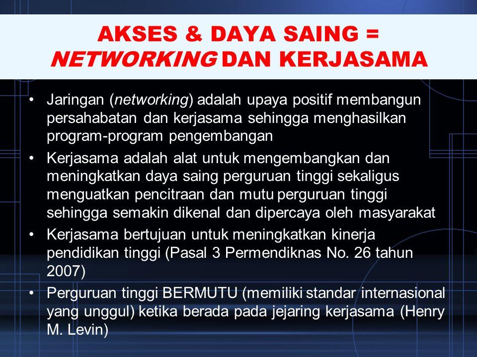 AKSES & DAYA SAING = NETWORKING DAN KERJASAMA •Jaringan (networking) adalah upaya positif membangun persahabatan dan kerjasama sehingga menghasilkan p