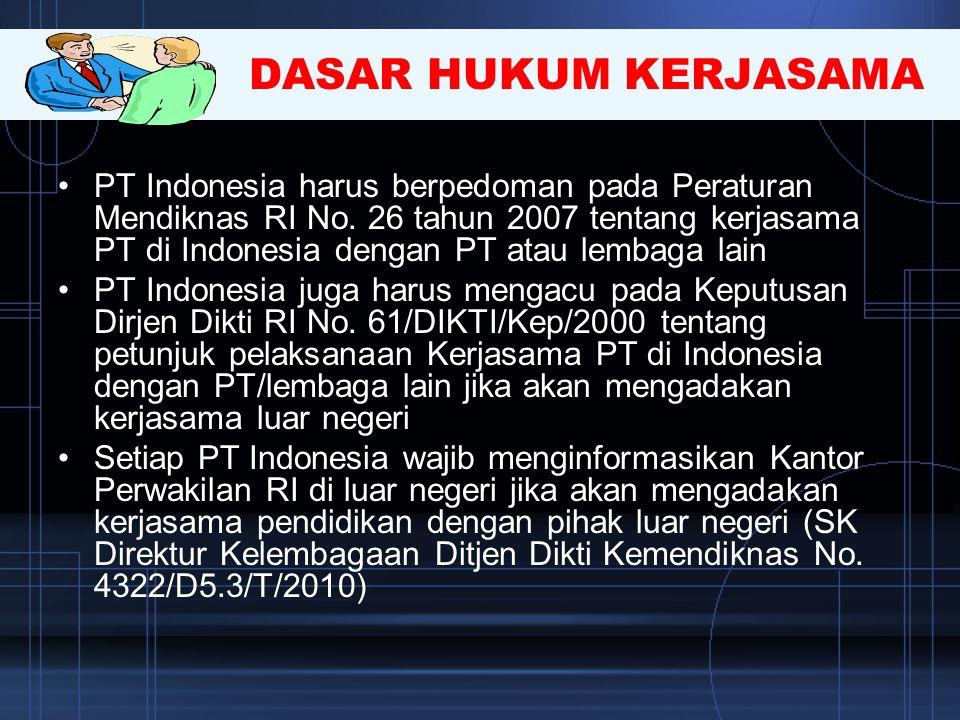 DASAR HUKUM KERJASAMA •PT Indonesia harus berpedoman pada Peraturan Mendiknas RI No. 26 tahun 2007 tentang kerjasama PT di Indonesia dengan PT atau le